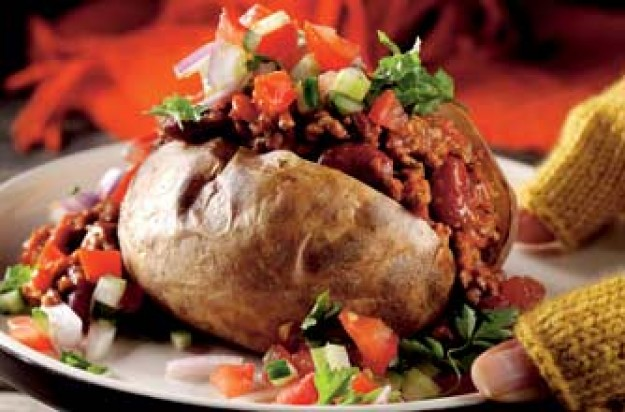 Salsa baked potatoes with chilli