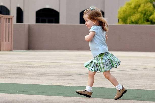 A little girl running