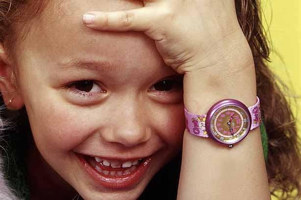 A girl wearing a watch