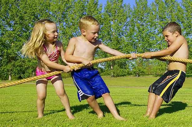 Kids having a tug-of-war
