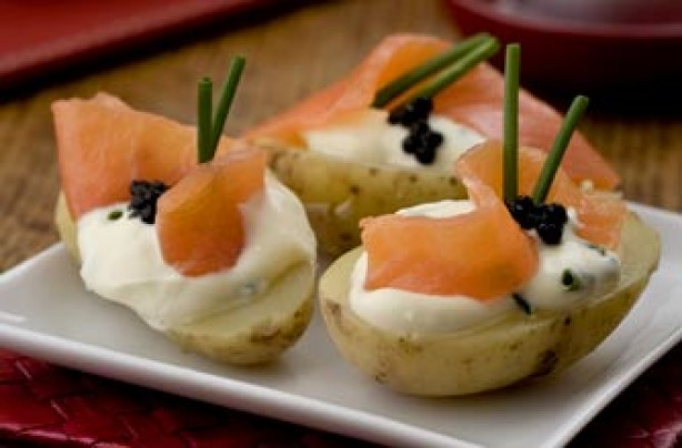 Salmon and caviar-topped potatoes