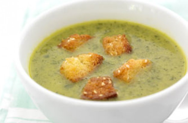Watercress soup with sesame croutons