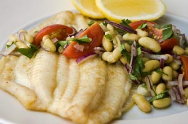 Lemon sole with Italian bean salad