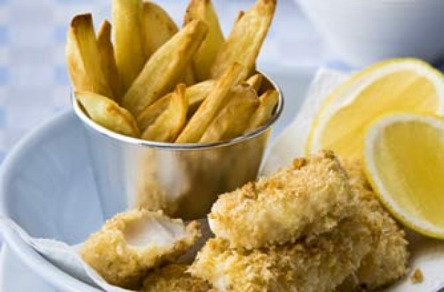 Home-baked fish fingers and chips