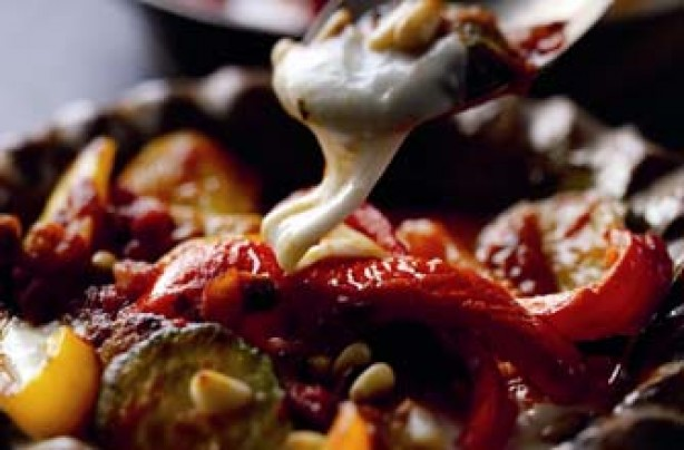 Red pepper and aubergine bake