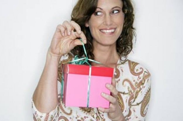 Woman opening present