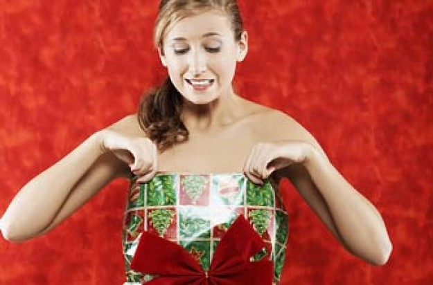 Woman in wrapping paper dress_Photolibrary