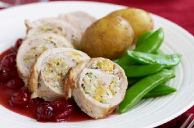 Pork parcels with Brazil nut stuffing and cranberry gravy