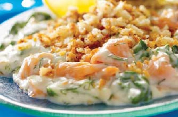 Smoked salmon and spinach gratin
