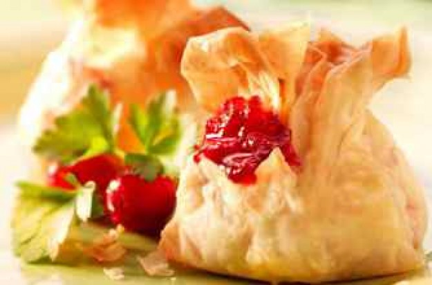 Cheesy cranberry parcels