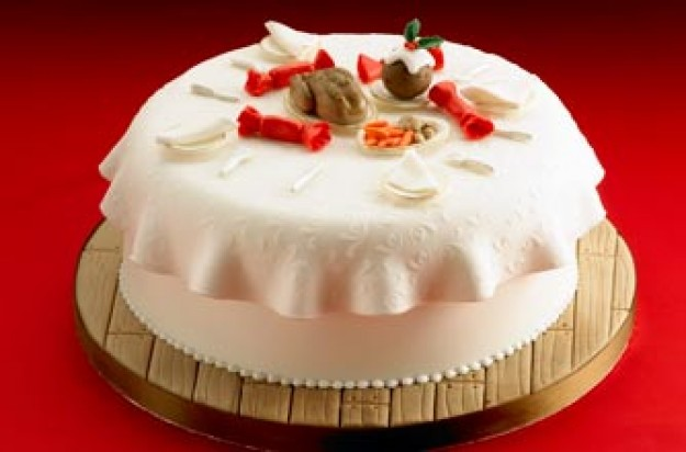 'Ready for dinner' Christmas cake