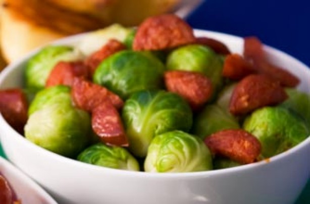 Sprouts with chorizo