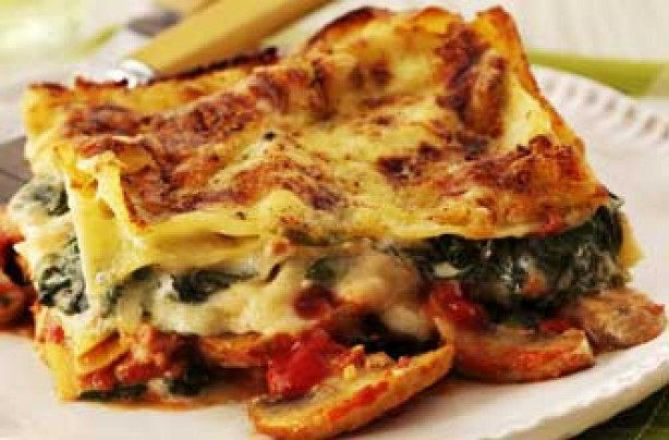 Cheat's mushroom and spinach lasagne