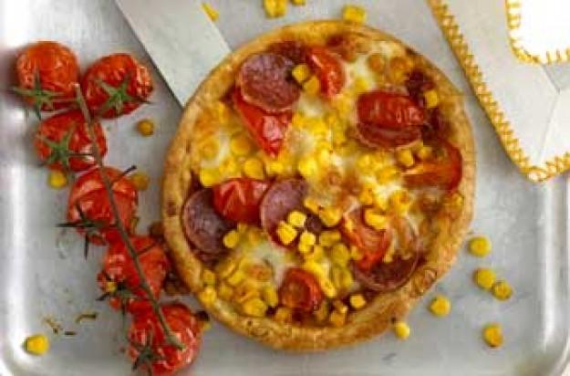 Sweetcorn and pepperoni tarts