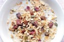 Fruit granola with rhubarb