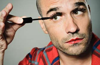 Man applying make up_istock