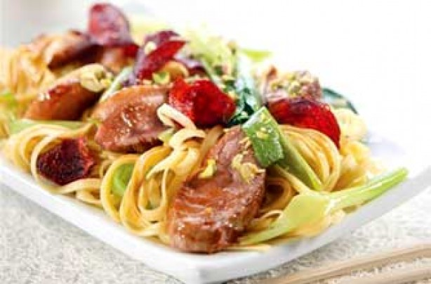 Sticky plum duck stir-fry recipe
