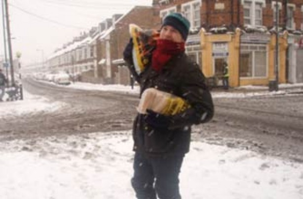 Your snow pics, Matt with bag of coal