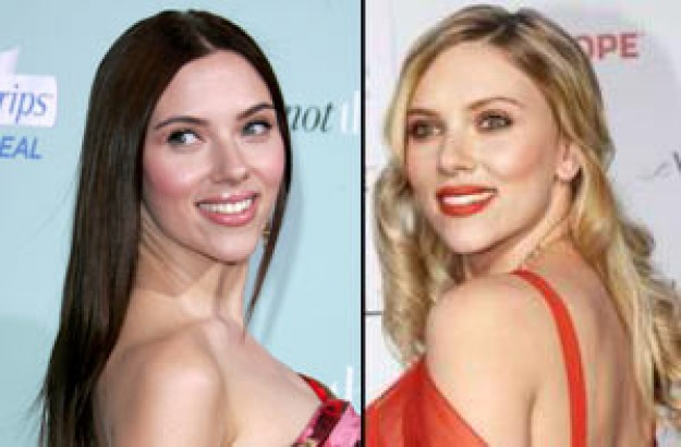 Scarlett Johansson's before and after new hair