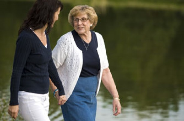 Older lady walking with daughter