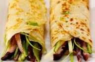 Spring onion pancakes with shredded duck