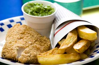 Low-fat fish, chips and mushy peas recipe - goodtoknow