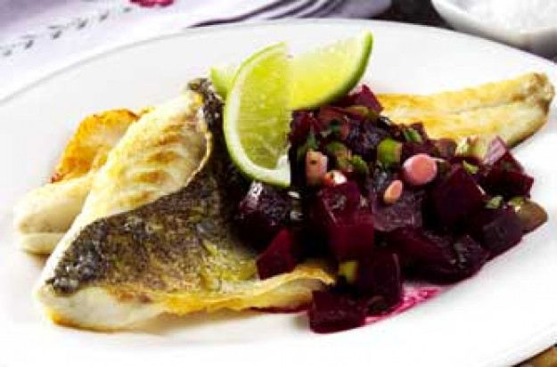 Sea bass with warm beetroot and mint salsa