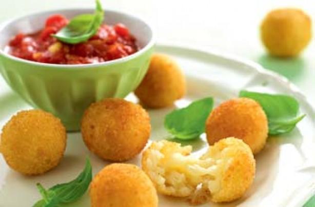 Arancini rice balls with tomato sauce
