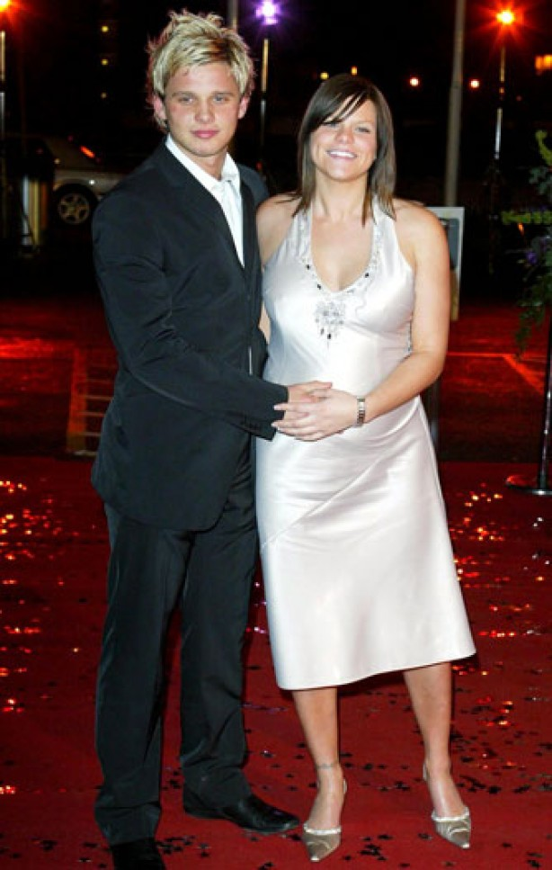 Pregnant Jade Goody with boyfriend Jeff Brazier, March 2003