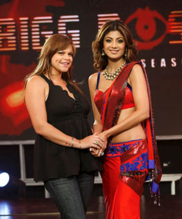 Jade Goody and Shilpa Shetty at opening of Indian Big Brother, August 2008