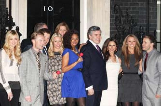Alesha Dixon, Gordon Brown and Cheryl Cole at No. 10 Downing Street