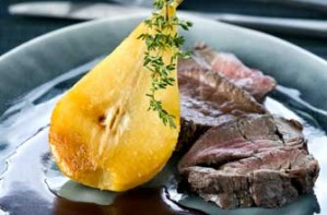 Roast venison with thyme pears and port