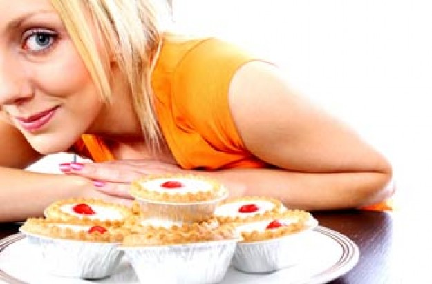 Woman with some bakewell tarts