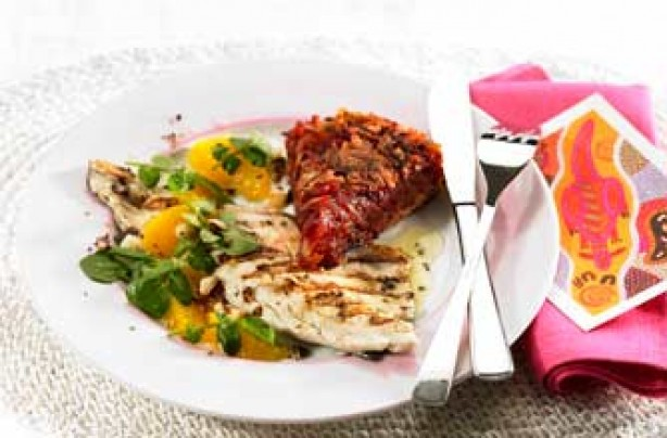 Seabass with beetroot rosti recipe