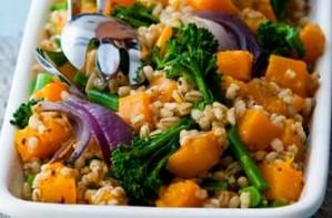 Butternut, barley and broccoli salad