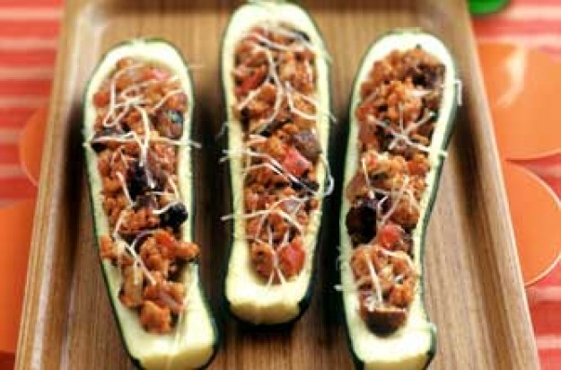 Loyd Grossman's tomato and almond-stuffed courgettes