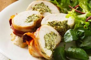 Watecress-stuffed chicken breasts