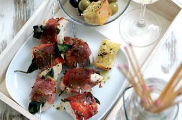 Chicken, prosciutto and sage skewers