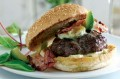 Burger with pancetta, avocado and blue cheese butter