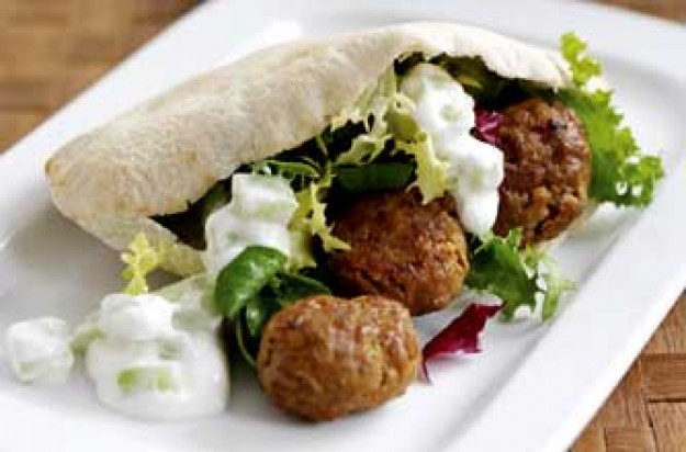 Baked meatballs with grilled pitta breads and tzatziki