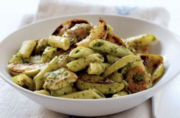 Chicken, apple and pesto penne pasta