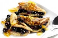 Blueberry and marmalade pancakes