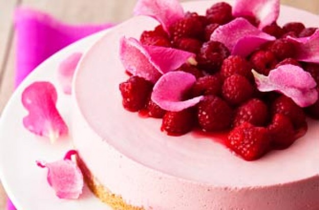 Raspberry and rose cheesecake