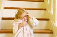 child sleepwalking on the stairs