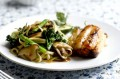 Miso cod with wok-fried broccoli and noodles