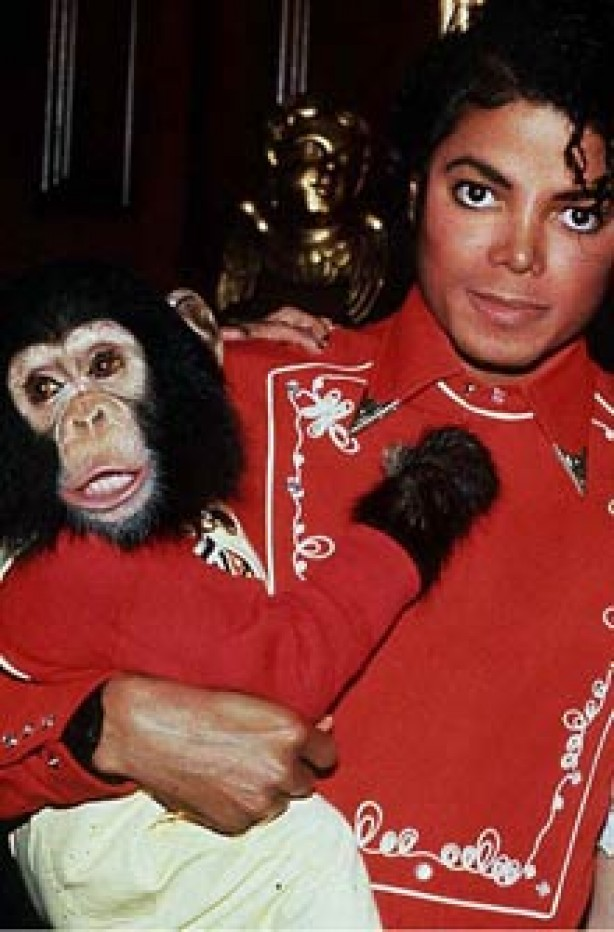 Michael Jackson with Bubbles the chimpanzee