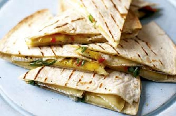 Ainsley's brie and grape quesadillas recipe