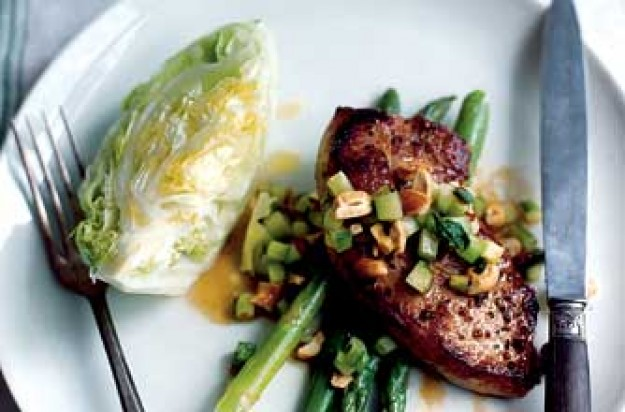 Bill Granger's pork steaks with cashew nut salsa