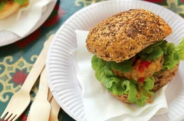Bill Granger's lime and lemongrass chicken burger
