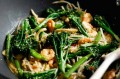 Stir-fried prawns with broccoli in Oriental seasoning